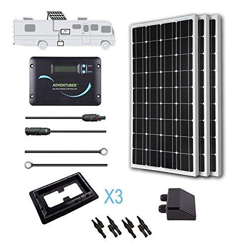 Renogy 300 Watts 12 Volts Monocrystalline Solar RV Kit -- with Adventurer Negative Grounded Controller & Corner Bracket Mounts