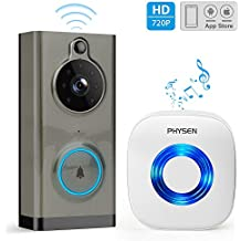 Video Doorbell, PHYSEN Waterproof Wifi Doorbell with Camera, Smart 720P HD Wireless Doorbell, Two-Way Talk, PIR Motion Detection, IR Night Vision, ToSee App Control Support IOS and Android