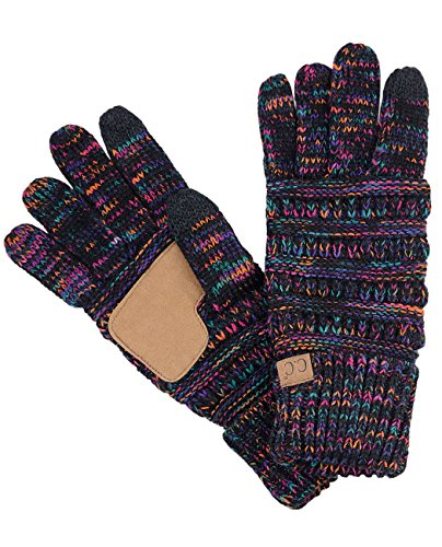 C.C Unisex Cable Knit Winter Warm Anti-Slip Touchscreen Texting Gloves, Black/Multi by C.C