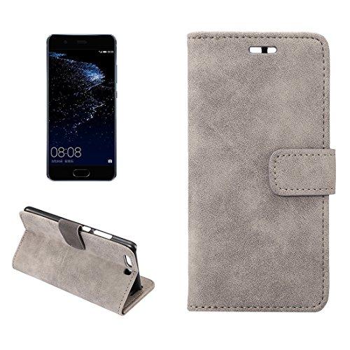 ZITEZHAI-Fashion case Huawei P10 Plus Sheep Bar Material Horizontal Flip Leather Case with Holder & Card Slots & Wallet & Photo Frame (Color : Grey)]()