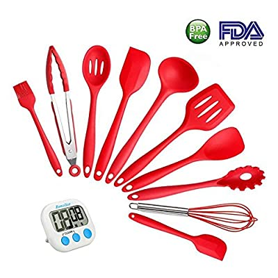 Silicone Kitchen Cooking Utensils By Renoliss, Set of 10 Pcs, Heat-Resistant Non-Stick Non Scratch Cooking Baking Utensils, Anti-Bacterial, Safety Health Tools,with a Kitchen Timer from Renoliss