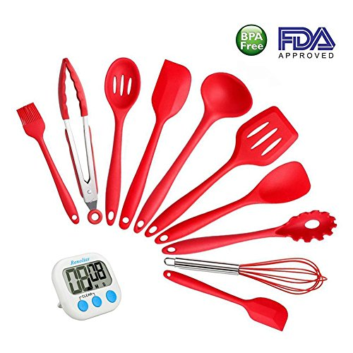 Silicone Kitchen Cooking Utensils By Renoliss, Set of 10 Pcs, Heat-Resistant Non-Stick Non Scratch Cooking Baking Utensils, Anti-Bacterial, Safety Health Tools,with a Kitchen Timer (Red) - Williams Sonoma Slotted Spatula