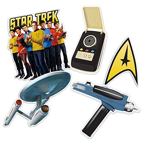 Popfunk Star Trek Collectible Stickers with Delta Shield, Crew, Enterprise, Phaser, Communicator Collectible Stickers