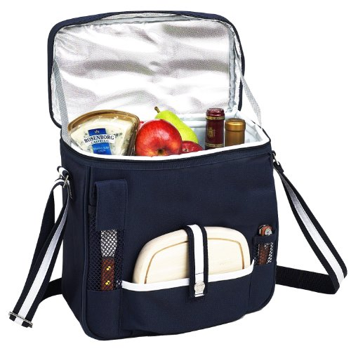 Picnic at Ascot Wine and Cheese Picnic Basket/Cooler with hardwood cutting Board, Cheese Knife and Corkscrew - Navy (Cheese Cooler Wine)