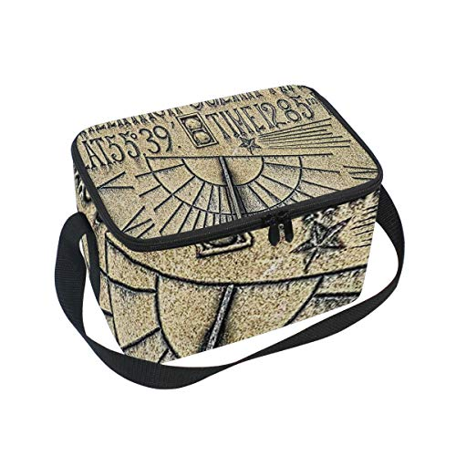 Lunch Bag Cooler Tote Bag Greenwich Solar Time Sundial Lunchbox Meal Prep Handbag for Picnic School Women Men - Sundial Solar