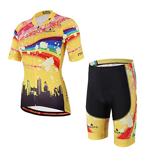 MILOTO Women's Cycling Jersey Reflective Shirt Padded Shorts Set (M, Rainbow) ()