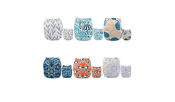 Amazon.com : Alva baby cada paquete tiene 6pcs pañal y 2 inserciones ajustado pañal reutilizables de tela (color unisex)  6DM26-ES : Baby