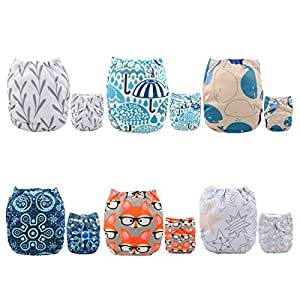 Alva Baby 6pcs Pack Fitted Pocket Cloth Diaper with 2 Inserts Each 6DM26-AU