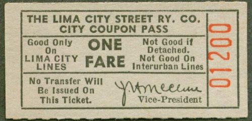Lima City Street Railway City Coupon Pass ticket 1945