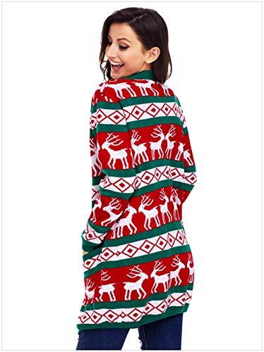 Moda Maglia Donna Verde Stampate Tasche Classiche Lunga Casual Reindeer Autunno Manica Libero Giubotto A Tempo Giacca Maglioni Donne Pullover Anteriori Di rR6qwtR