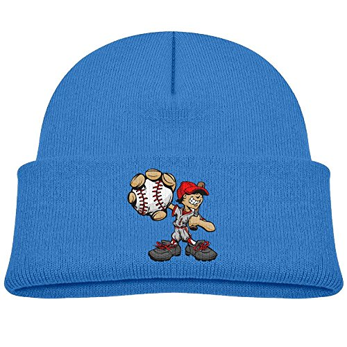 Qiop nee Baby Beanie Hats Soft Knit Cap Funny Cartoon Baseball Player Boys' Girl RoyalBlue