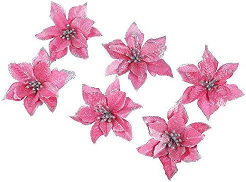 Image Fleur Noel.6pcs Paillettes Artificielles Fleur De Noel Decorations Sapin De Noel Paillettes Rose Poinsettia 13cm 5 1