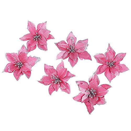 6Pcs Xmas Bronzing Artificial Christmas Flowers, Christmas Tree Decorations, Glitter, Pink Poinsettia, ()