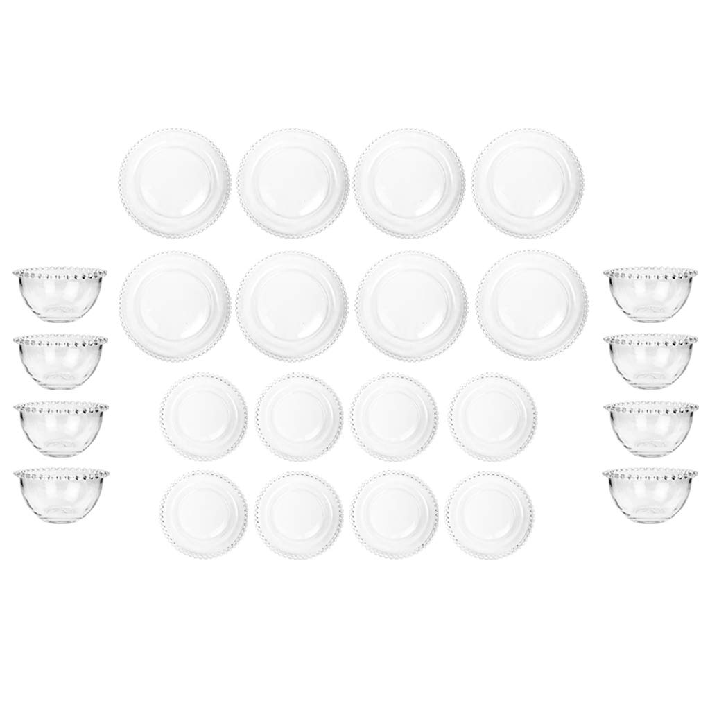 10 Place Setting Bella Perle Beaded Dinner Service Crockery Glass Plates Bowls Dibor