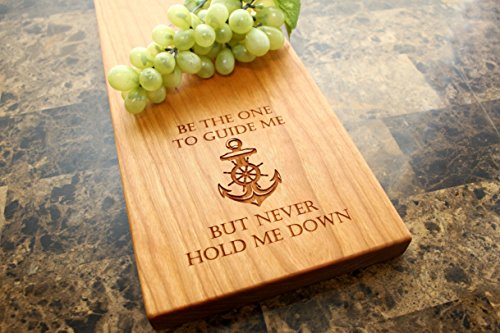 Nautical Anchor Personalized Cherry Cheese Board - Serving Platter, Bridal Shower Gift, Wedding Gift, Anniversary, Engagement, Birthday, Christmas, Quote, Saying. #911