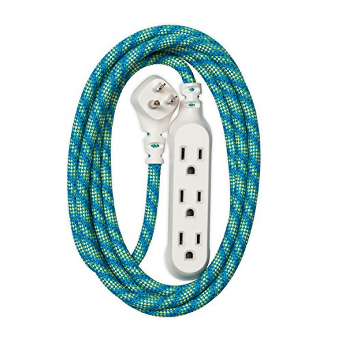 360 Electrical 360424 Habitat Accent Braided Extension Cord, 8 ft. - Mint Julep -
