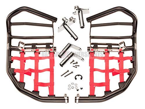 Honda TRX 450R 450ER Nerf Bars Foot Pegs Heel Guards Black Bars Red Nets
