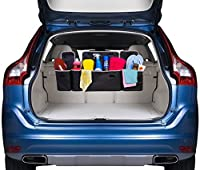 2 in 1 Backseat Car Trunk Organizer by Kodiak| 4 Pocket Car Storage Solution| Vehicle Storage for Childrens Toys/ Tools/ Baby Supplies & Golf Trunk Organizer| SUV & Car Organizer| Life-time Warranty