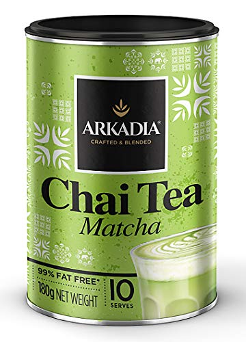 ARKADIA Beverages Chai Tea Pomegranate Powder 98% Fat Free | Black Tea Base & Secret Exotic Ingredients | For Hot, Iced & Latte Drinks | Experience Café Indulgence At Home