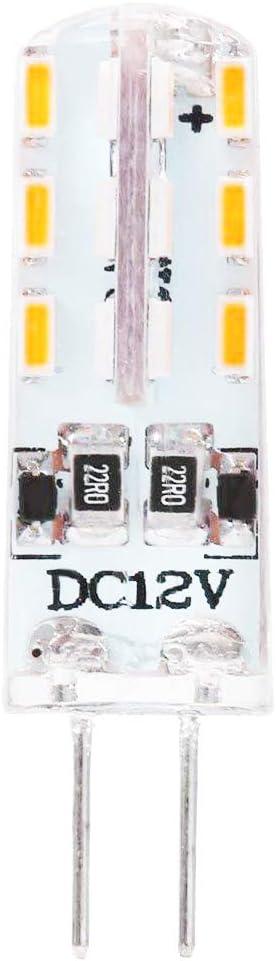 Lámparas LED G4 2W Bombilla,Blanco cálido 3000K,24×3014 SMD LED,lámpara LED bi-pin DC 12V,no regulable(1 pack)