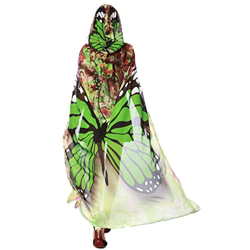 [Women's Novelty Butterfly Wing Print Hooded Capes Chiffon Cloak Costume Accessory Party Prop Cosplay (Green Butterfly)] (Flower Fairy Costume Ideas)