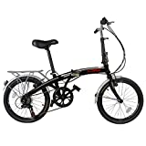 "Xspec 20"" 7 Speed City Folding Compact Bike Bicycle Urban Commuter Shimano Black"