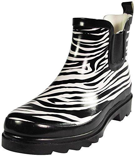 Sunville Womens Short Zebra Ankle Rubber Rain Boots, Black, White 38757-6B(M) US (Zebra Print Boots)