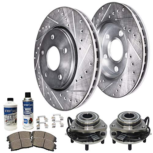 Detroit Axle - Front Wheel Bearing & Hub, Drilled and Slotted Disc Brake Rotors w/Ceramic Pads for 98-05 Chevy S10 Blazer 4WD - [98-04 GMC Sonoma] - 97-01 Jimmy Bravada Hombre