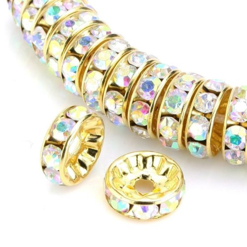 100pcs Best Quality Rondelle Spacer Beads 5mm Crystal AB Top Quality Austrian Crystal Rhinestone 14k Gold Plated Copper Brass CF4-502