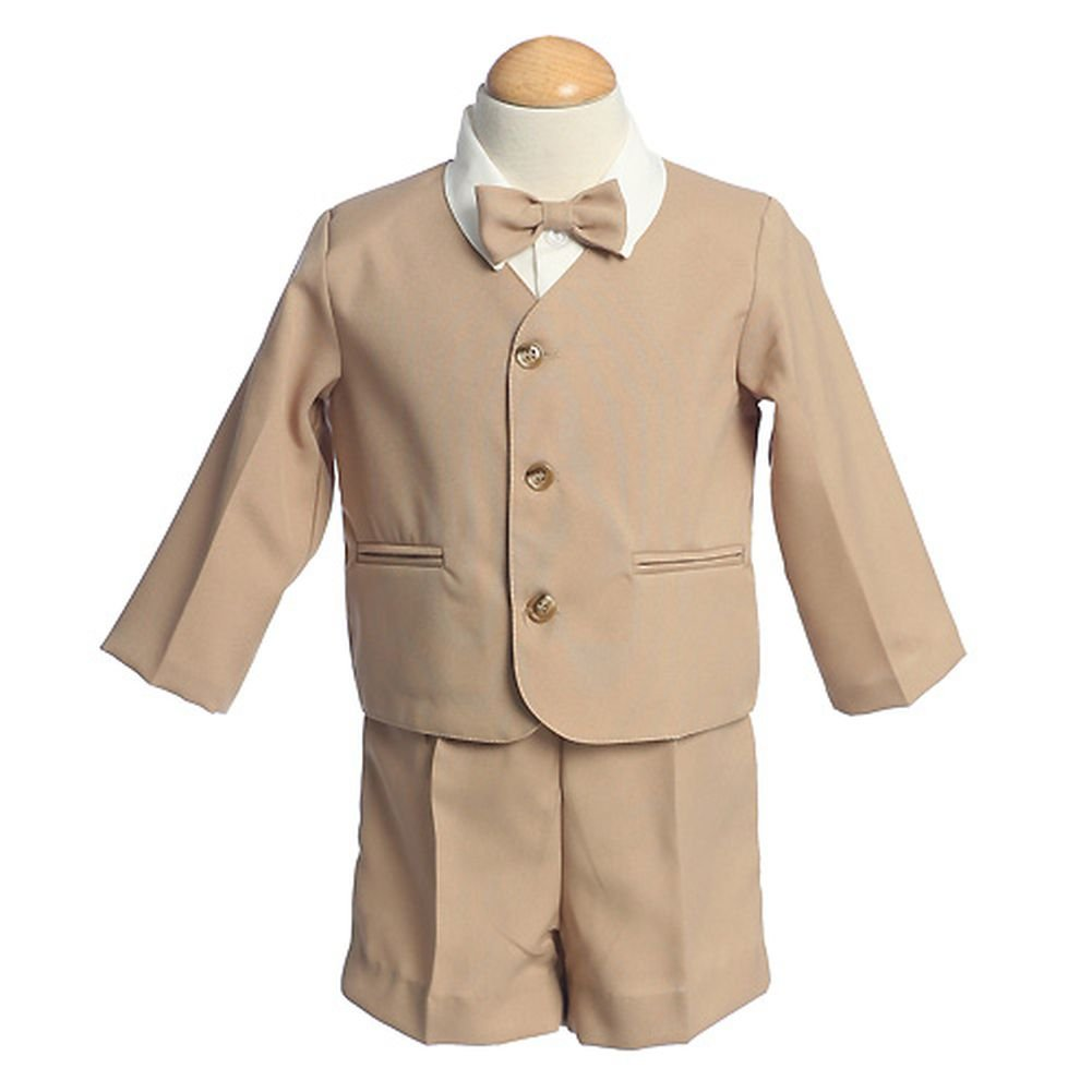 Lito Boys Khaki Eton Short Formal Wear Ring Bearer Easter Suit 12M-4T