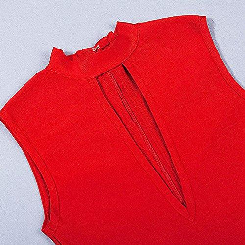 Verband Keyhole Kunstseide HLBandage Kleid Seiten Rot ärmel Schlitz RXqnxCBdw