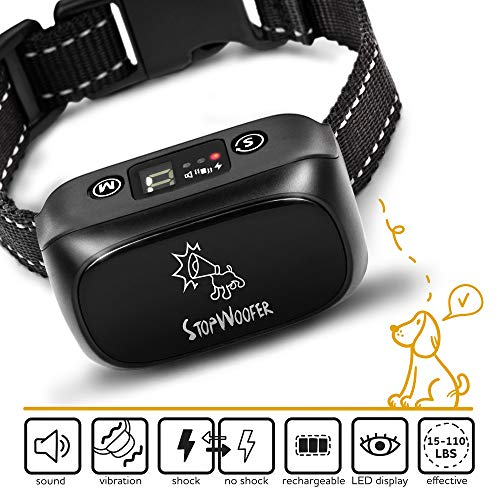- StopWoofer [Newest 2019] Humane Dog Bark Collar | Anti Barking Collar Small Dogs Medium Large Dogs | Rechargeable Anti bark Collar | No bark Collars Sound Warning Vibration Electric Stimulation