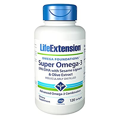 Life Extension Super Omega-3 Epa/DHA with Sesame Ligans & Olive Extract Soft Gels