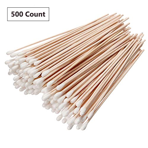 - 500PCS Cotton Tips Swabs For Cotton Pads & Rounds, Wooden Long Makeup Eraser Stick,Sterile Baby Nail & Ear Face Cream Ball Cleaner, Maintaining Electronics To Cleaning Jewelry For Medicine, Beauty