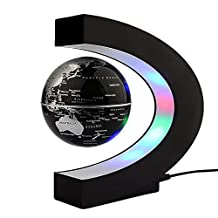 Floating Globe Rotating World Map Earth Planet Ball with C Shaped Magnetic Levitation LED Display Platform Stand - Educational Gifts for Kids, Office Desk Decoration Ornament