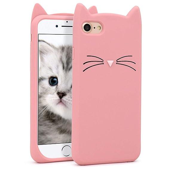 8627530eae752d Yonocosta Cute iPhone 7 Case, iPhone 8 Cases, Fashion Cute 3D Cartoon Pink  Whisker