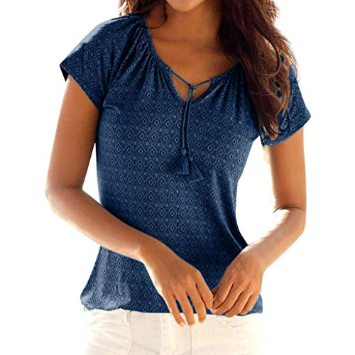 CCatyam Plus Size Blouses for Women, Tops T Shirt Print Loose Sexy Beach Casual Holiday Fashion Navy