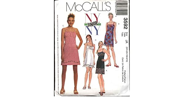 Amazon.com: McCalls Sewing Pattern 3592 Junior Size 3/4-9/10 NYNY Slip Raised Waist Empire Dress Sundress: Arts, Crafts & Sewing