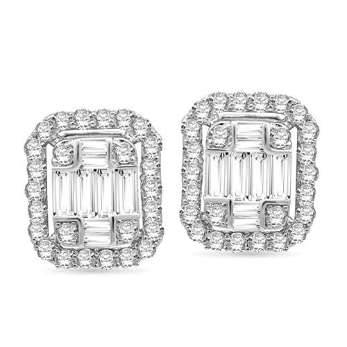 Halo Jewels 14K White Gold 1.75 Cttw Natural Baguette and Round White Diamond Women's Earrings