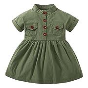 Baby Girls Double Pocket Button Shirt Dress Short Sleeve Army Green (Green, 6-12M)