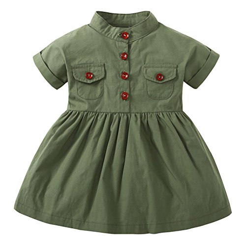 Tomfree Baby Girls Double Pocket Button Shirt Dress Short Sleeve Army Green (Green, -