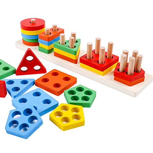 - kizh Wooden Educational Preschool Toddler Toys Shape Color Recognition Geometric Board Blocks Stack Sort Chunky Puzzles 25 pcs for 1-5 Year Old Boys Girls Kids Baby Toddlers Children NON-TOXIC Toy