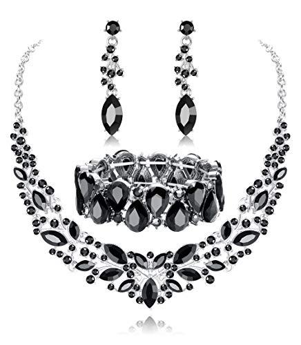 Fiasaso Crystal Bridal Jewelry Set for Women Rhinestone Necklace Earrings Bracelet Wedding Bridesmaid Black