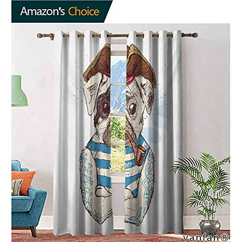 Sleeveless Striped Panel - Big datastore Black Out Window Curtain,PugPirate Pug Conqueror of The Seas Pipe Skulls and Bones Hat Striped Sleeveless T Shirt,with 2 Panels,Brown Blue,W120 xL96