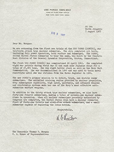 Admiral Hyman G. Rickover Typed Letter Signed 08/07/1967