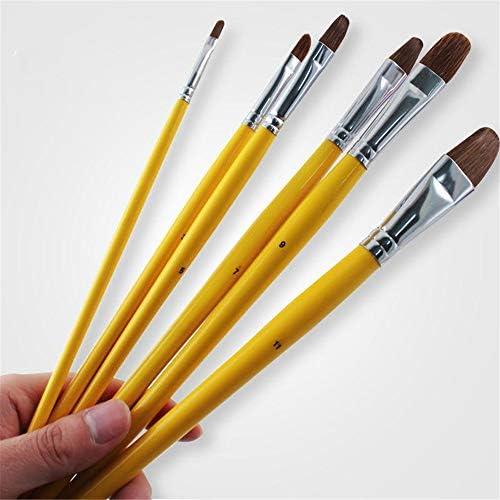 画材筆 奇数はアーティストウルフ馬の毛は、ペン水彩画アート用品は、アーティストの設定をペイントペイントブラシセットアクリルオイル絵画 高 耐久性 (色 : 黄, Size : 6pcs)