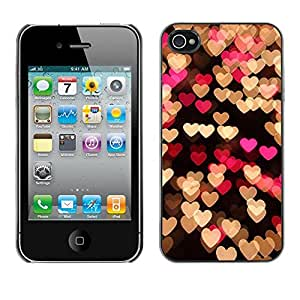 Plastic Shell Protective Case Cover || Apple iPhone 4 / 4S || Pink Black Lights Night @XPTECH