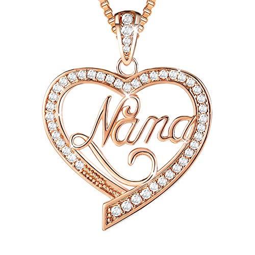 Ado Glo Birthday Gift for Her 'Nana' Love Heart Pendant Necklace, Rose Gold Fashion Jewelry for Women, Anniversary Present from Grandchildren Granddaughter Grandson to Grandma
