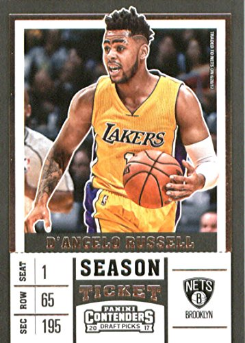 2017-18 Panini Contenders Drafts Picks Season Ticket White Jersey #10 D'Angelo Russell Brooklyn Nets