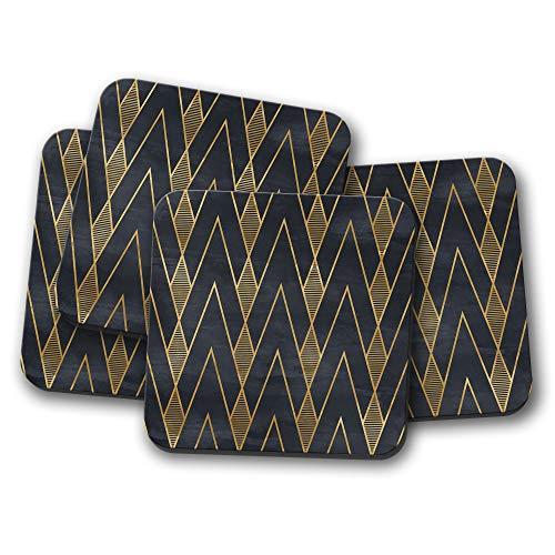 4 Set - Black & Gold Art Deco Coaster - Geometric Wallpaper Retro Gift #12545 ()